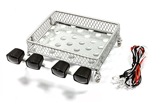 - Integy RC Model Hop-ups C25028SILVER T7 Realistic 1/10 Scale Metal Luggage Tray with 4 LED Spot Light Set 120x105mm