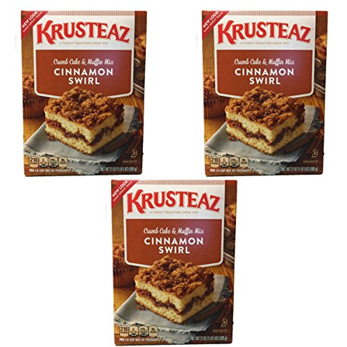 New Look Krusteaz Cinnamon Swirl Crumb Cake and Muffin Mix - Pack of 3 (21oz) boxes - Delicious, Tasty and EASY to prepare ()