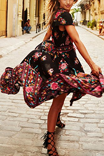 Damen Retro-V-Ausschnitt Floral Print Party Kleid