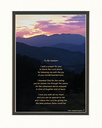 Godson Gift with Thank You Prayer for Best Godson Poem. Mt Sunset Photo, 8x10 Double Matted. Special Birthday or for Godson.