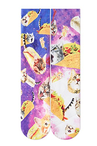 RAISEVERN Crazy Funny Novelty Taco Pizza Surfing Cat Pattern 3d Print Footwear Casual Athletic Sports Crew Tube Socks
