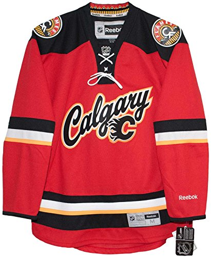 Calgary Flames Alternate Third Red Reebok Premier Hockey Jersey (Large) Calgary Flames Hockey Jersey