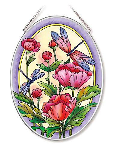 (Amia Peonies and Dragonflies Glass Oval Suncatcher)