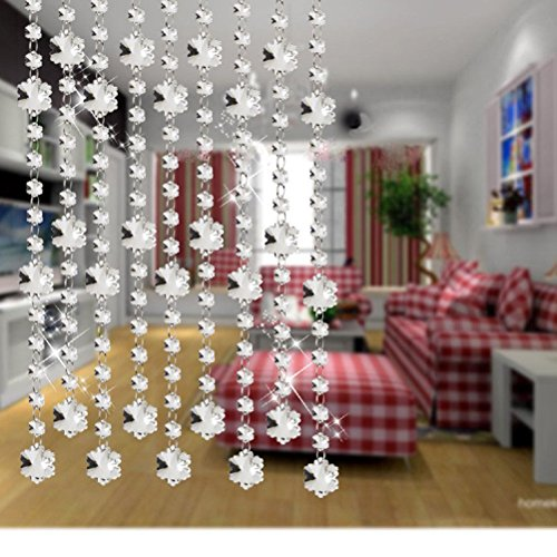 Set of 3pcs Crystal pendant curtain chains, each 3 feet long, snowflake clear diamond strands home decoration