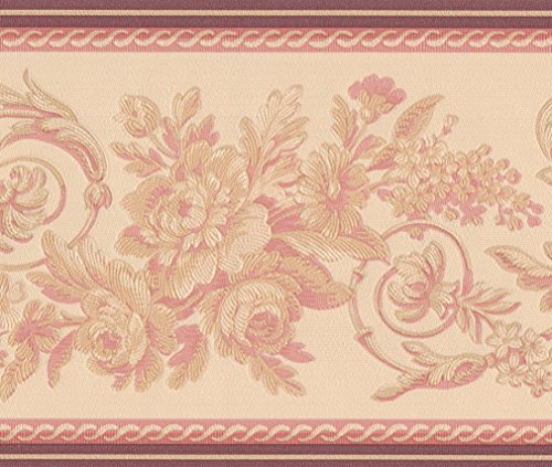 Abstract Red Cream Vines Floral Wallpaper Border Retro Design, Roll 15' x 6''