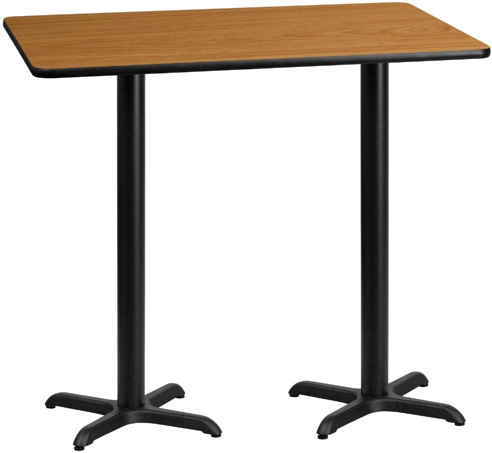 Flash Furniture 30'' x 60'' Rectangular Natural Laminate Table Top with 22'' x 22'' Bar Height Table Bases