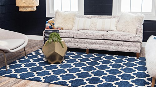 "Unique Loom Modern Geometric Trellis Contemporary Area Rug - Made in Turkey, this Unique Loom Trellis Collection rug is made of Polypropylene. This rug is easy-to-clean, stain resistant, and does not shed. Colors found in this rug include: Dark Blue, Navy Blue, Ivory. The primary color is Dark Blue. This rug is 1/2"" thick. - living-room-soft-furnishings, living-room, area-rugs - 516dM82o%2BRL -"