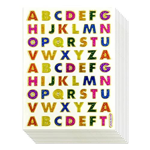1cm a z letter sticker 10 sheets glitter gold metallic foil alphabet letter decorative scrapbook sticker