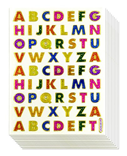 1CM A-Z Sticker 10 Sheets Colorful Alphabet Letters Self-Adhesive Glitter Metallic Foil Reflective Decorative Scrapbook for Name Photo Card Diary Album- Size 4 X 5.25/Sheet. Each Letter HIGH 1CM.