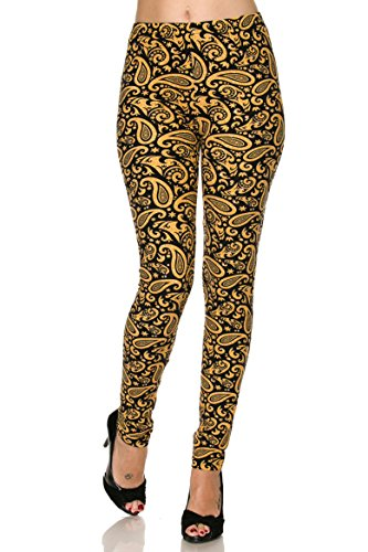 Kathy Brushed Gold Paisley Print Plus Size Ankle Leggings by Kathy