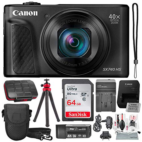 Canon PowerShot SX740 HS Digital Camera (Black) with 64GB Card & Stable Tripod Photo Savings Deluxe Bundle