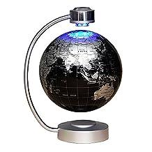 "8"" Magnetic Floating World Map Globe With LED Light - Anti-gravity Levitation Rotating Planet Earth Globe - Creative Birthday/Christmas/Anniversary/Educational Gifts - Stylish Home Office Desktop Display Decoration (Black)"
