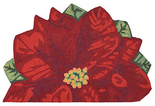 Liora Manne FTPH1241124 2411/24 Front Porch Christmas Poinsettia Red Indoor/Outdoor Circle Half Round Rug, 20