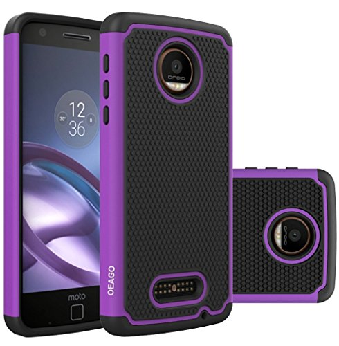 OEAGO Motorola Moto Z Force Droid Case Cover, [Shockproof] [Impact Protection] Hybrid Dual Layer Defender Protective Case Cover for Moto Z Force Droid Edition (Not Fit for Moto Z Droid) – Purple