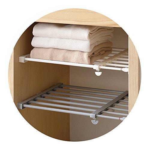 HaloVa Scalable Layered Separator, Retractable Wardrobe Partition Shelf, Multifunctional Adjustable Stretchable Storage Shelves Rack for Kitchen Bathroom, 19.6 - 31.5, White