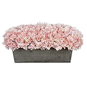 House of Silk Flowers Artificial Hydrangeas in Grey-Washed Wood Ledge 102