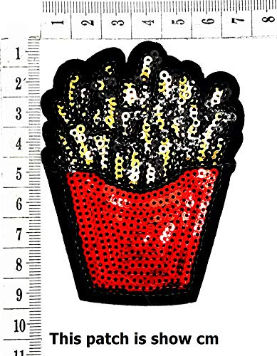 French Fries Fast Food Shine Shiny Cartoon Chidren Kids Embroidren Iron Patch/Logo Sew On Patch Clothes Bag T-Shirt Jeans Biker Badge Applique