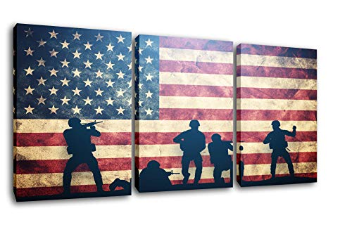 Native American Flag Pictures Soldier Silhouette Paintings Patriotic Wall Art Red Artwork 3 Piece Prints on Canvas Living Room House Decorations Framed Gallery-Wrapped Ready to Hang(42