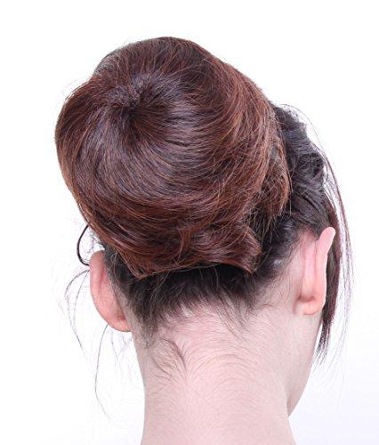 Prettyland DQ87A - Dutt Haarteil glatt Haarknote offener Hepburn-Dutt 13cm mit Haargummi - schwarz braun gemischt 4T30