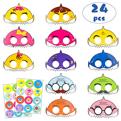 (MallMall6 24Pcs Little Shark Mask Birthday Party Cartoon Shark Masks Shark Family Party Favor with 24 Pack Cute Shark Stickers Doo Doo Shark Inspired Sea Themed Costumes Party Graduation)