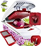 Fullstar Vegetable Chopper - Spiralizer Vegetable Slicer - Onion Chopper with Container - Pro Food Chopper - Red Slicer Dicer Cutter - 4 Blades