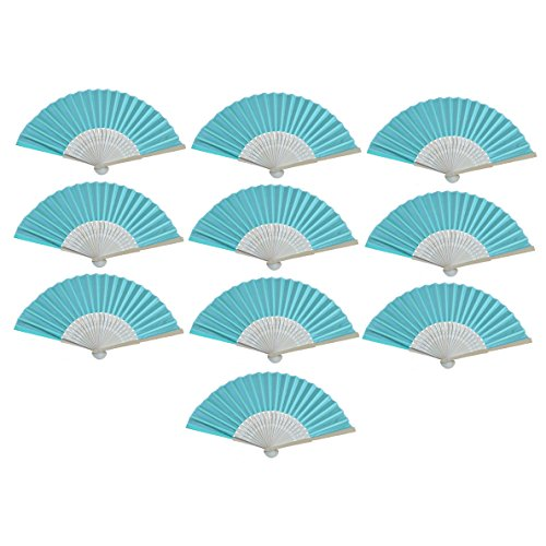 MS Made 10pcs Folding Fan White Silk fan Bamboo Handheld Folded Fan Bridal Dancing Props Church Wedding Gift Party Favors Home Office DIY Decor (green)