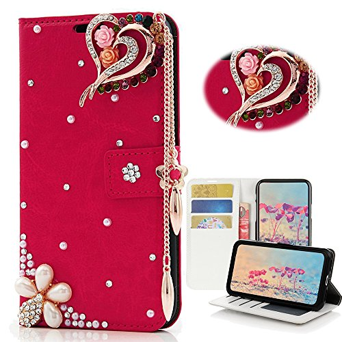 - STENES Samsung Galaxy S8 Plus Case - STYLISH - 3D Handmade Bling Crystal Rose Heart Pendant Flowers Wallet Credit Card Slots Fold Media Stand Leather Cover Case - Red