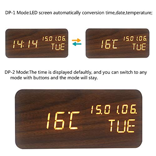OFLILAK Wooden Digital Alarm Clock, 3 Levels Adjustable Brightness and Voice Control, Display Time Week Temperature Date for Bedroom Office Home(Brown)