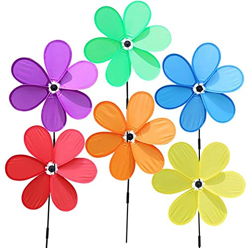 (6PCS Wind Spinners Sunflower Lawn Pinwheels,Colorful Flower for Your Yard and Garden,Windmill Party Pinwheel Wind Spinner)