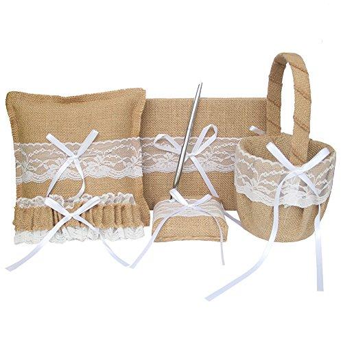 ARKSU 5pcs Wedding Sets Flower Girl Basket + Ring Bearer Pillow + Guest Book Pen + Pen Set Holder + Bride Garter Rustic Bridal Wedding Shower Ceremony Anniversary