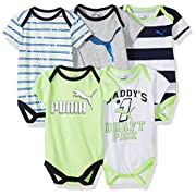 PUMA Baby Boys Five Pack Bodysuit Set, Active Green, 0-3 Months