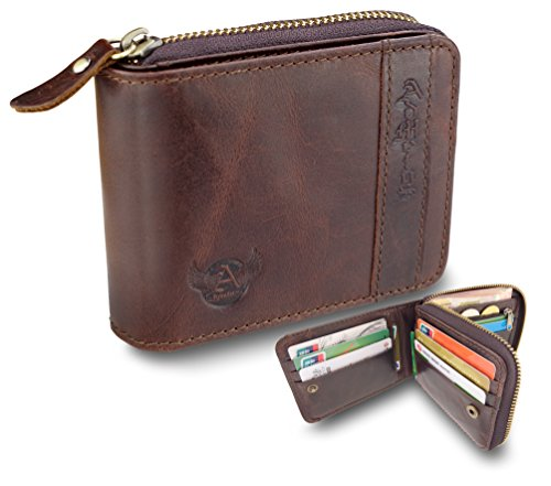 Admetus Men's Genuine Leather Bifold Zip-around Wallet with Elegant Gift Box ()