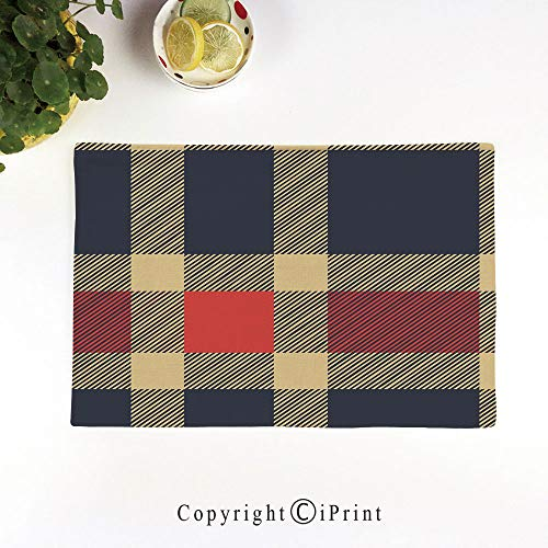 (LIFEDZYLJH Place Mats Set of 6,Washable Fabric Placemats for Dining Room Kitchen Table Decoration,Vintage Plaid Tartan Pattern Design Retro Display Checks Cross Lines,Dark Blue Coral Cream)