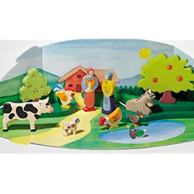 Holztiger Cow Standing Toy Figure, Black: Toys & Games