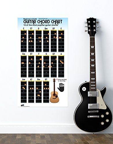 Guitar Chord Chart Poster for Beginners. 16 Popular Chords Guide. Perfect for Students and Teachers. Educational Handy Guide Chart Print for Guitar Music Lessons. 30in Tall X 17in Wide Poster #P1003m