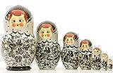 Russian Nesting Doll - ''Glasha'' - Hand Painted in Russia -- BIG SIZE - Traditional Matryoshka Babushka (7pcs Green) (Silver)