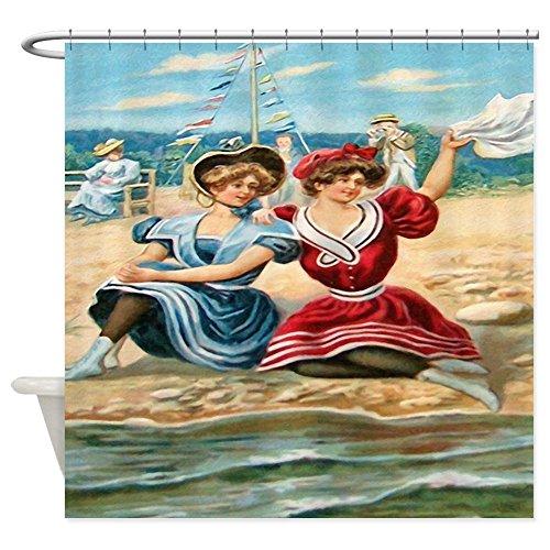 CafePress - Vintage Victorian Women Seashore Shower Curtain - Decorative Fabric Shower Curtain