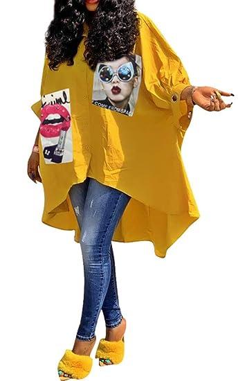Monasama Women Oversized Graffiti Shirts   3/4 Sleeves High Low Button Down Stripe Loose T Shirt Top Blouse by Monasama