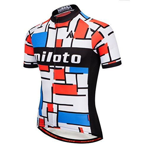 Uriah Men's Cycling Jersey Short Sleeve Breathable Red White Size L(CN) (Cycling Jersey 3 Feet)