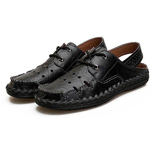 HGDR Mens Summer Leather Closed-Toe Sandals Sports Outdoor Sandals Trekking Beach Shoes Black J0qEx