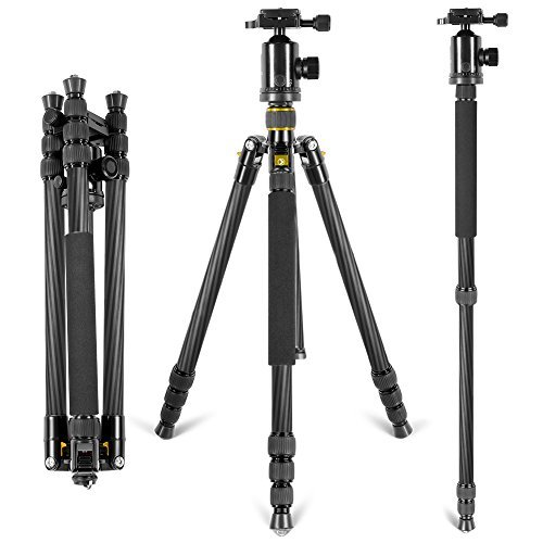 Neewer Lightweight Portable 66inch/168cm Carbon Fiber Camera Tripod Monopod with 360 Degree Ball Head and Bubble Level, Load Capacity 26.5lbs/12kg(Golden)