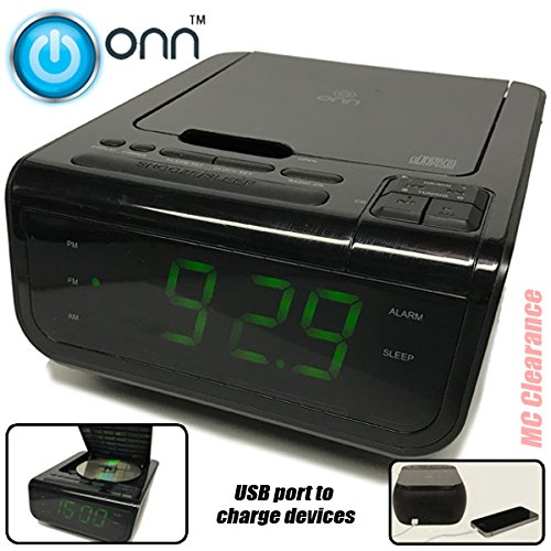Onn CD/AM/FM/ Alarm Clock Radio with Digital tuning alarm with and USB port to charge devices + Large 1.2 inch green LED display + Aux-in jack,Top Loading CD player ONA502