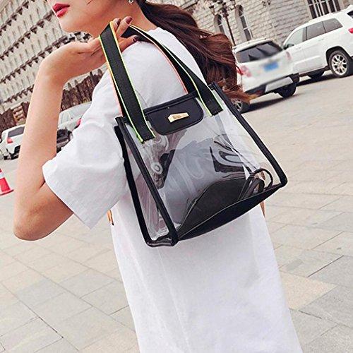 Mode Noire à main Sacs sac sac à bandoulière transparent poche à Trydoit plage BandoulièRe Sac cordon Noir féminine Femme de UUqBdw