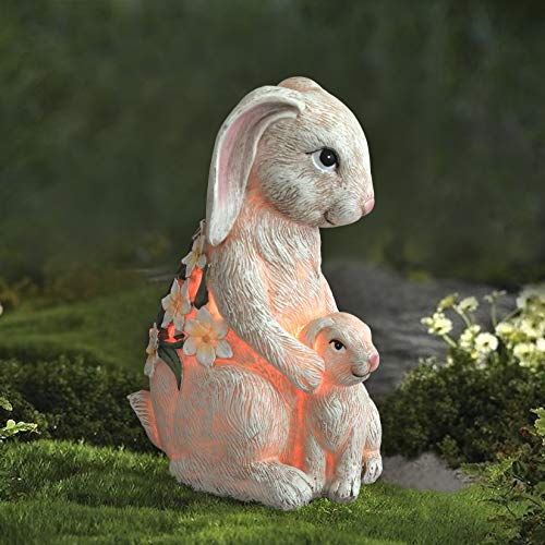 Garden Statue Bunny Figurine - Mom & Baby Rabbit with Solar Color Changing LED Lights for Outdoor Indoor Fall Decoration…