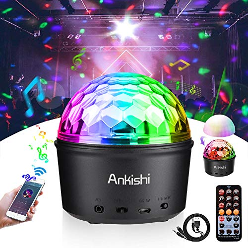 Disco Ball Light, Stage Light Sound Activated Party Lights Night Light Wireless Speaker 9W 9 Colors LED Lamp for Bar Club Karaoke Wedding Show Xmas Home Dance (Remote Control, USB) -
