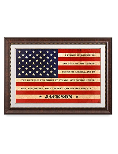 IPIC - American Flag, Personalized Artwork with Family Name and Oath, Perfect Army for Independent Day, Thanksgiving and Christmas. Picture Size: 24x16, Framed Size: 27x19