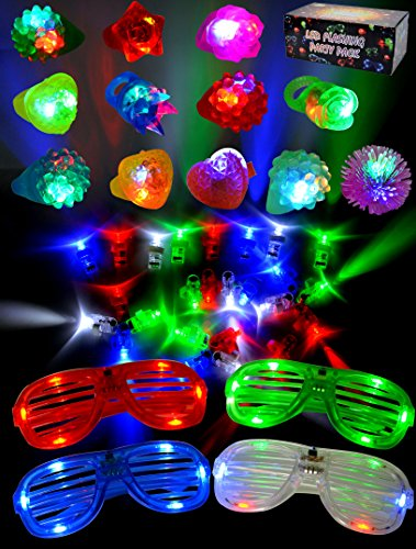 Joyin Toy 60 Pieces LED Light Up Toy Party Favor Party Pack for classroom price –44 LED Finger Lights, 12 LED Flashing Bumpy Rings and 4 Flashing Slotted Shades Glasses (Kids Parties Supplies)