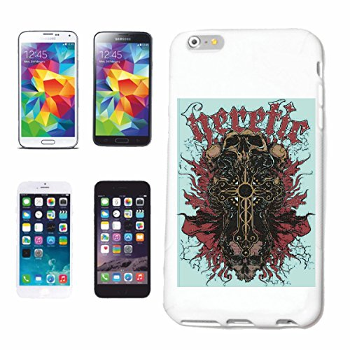 "cas de téléphone iPhone 7 ""HERETIC SKULL BIKER SHIRT BIKE GOTHIC CLUB MC MOTO CHOPPER CUSTOM MOTO MOTO CLUB REUNION REUNION"" Hard Case Cover Téléphone Covers Smart Cover pour Apple iPhone en blanc"