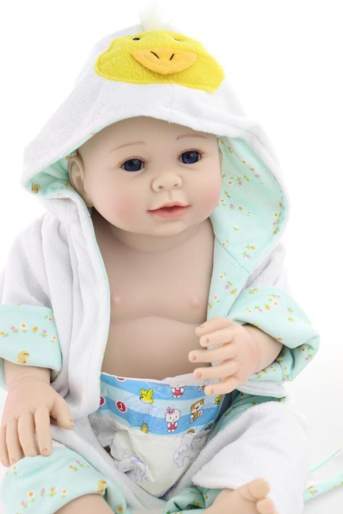 NPKDOLL Renacer De La Muñeca Del Silicón Duro De 20 Pulgadas 50 Centímetro Magnética Precioso Realista Linda Del Muchacho Del Pato De Juguete Gir Azul Amarillo Reborn Doll A1ES