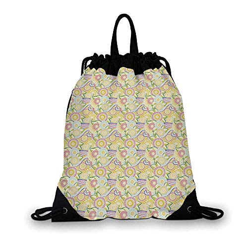 Abstract Nice Drawstring Bag,Ornamental Zentangle Pattern Ethnic Floral Arrangement Eastern Cultures Decorative For hiking,7.4